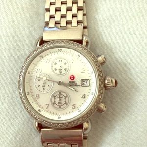 Michele round diamond face watch